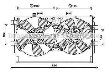 Вентилятор, охлаждение двигателя AVA MT7530
