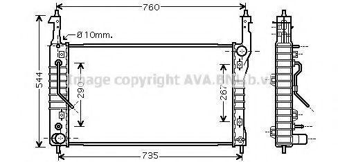 Радиатор, охлаждение двигателя AVA OL2424