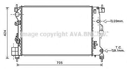 Радиатор, охлаждение двигателя AVA OL2666