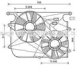 Вентилятор, охлаждение двигателя AVA OL7571