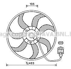 Вентилятор, охлаждение двигателя AVA OL7657