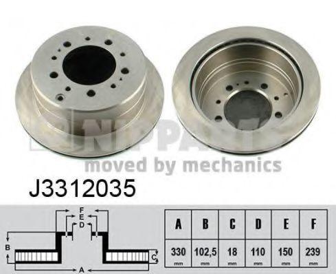 Диск тормозной задний NIPPARTS J3312035