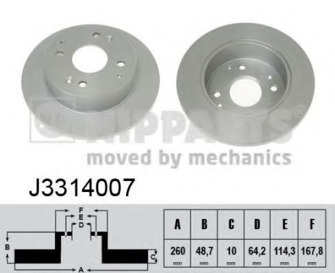 Диск тормозной задний NIPPARTS J3314007