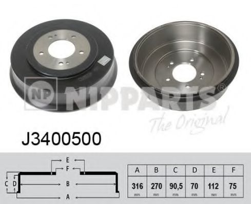 Тормозной барабан NIPPARTS J3400500