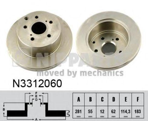 Диск тормозной задний NIPPARTS N3312060