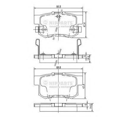 Колодки тормозные дисковые NIPPARTS J3 614 008