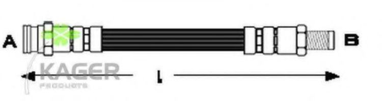 Шланг тормозной задний KAGER 380132