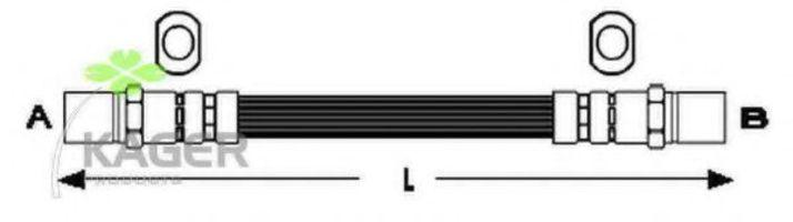 Шланг тормозной задний KAGER 380195
