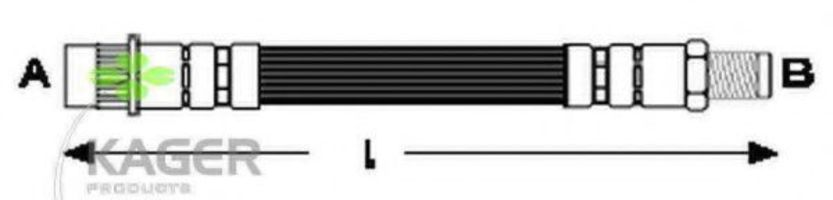 Шланг тормозной передний KAGER 380130