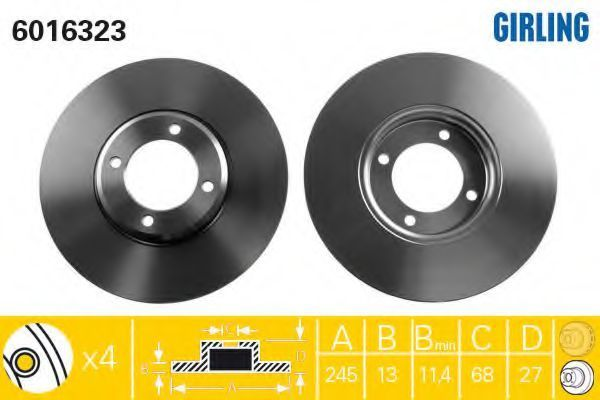 Тормозной диск GIRLING 6016323