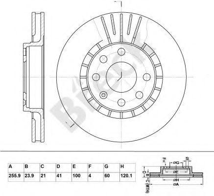 Тормозной диск BRECK BR305VA100