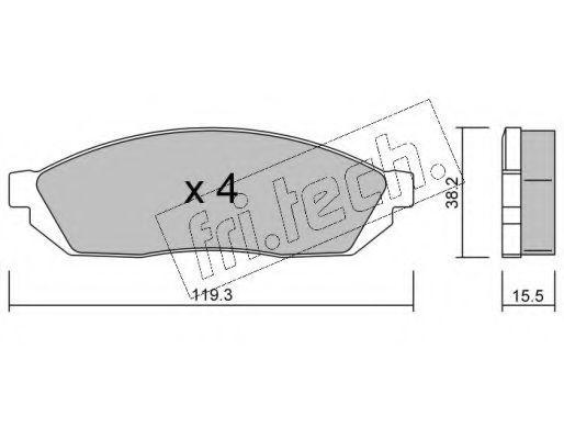 Комплект тормозных колодок, дисковый тормоз Fri.tech 0890