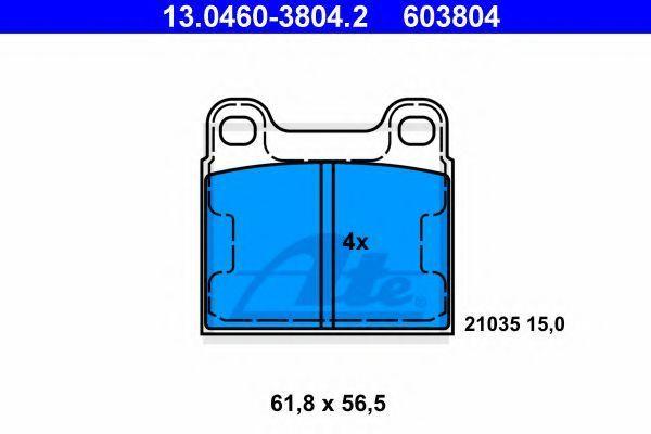 Комплект тормозных колодок, дисковый тормоз ATE 13046038042