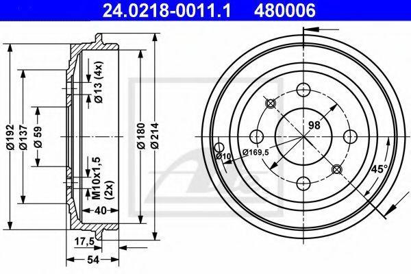 Барабан тормозной ATE 24021800111