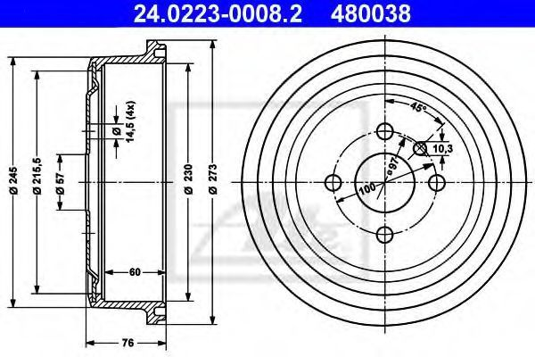 Барабан тормозной ATE 24.0223-0008.2