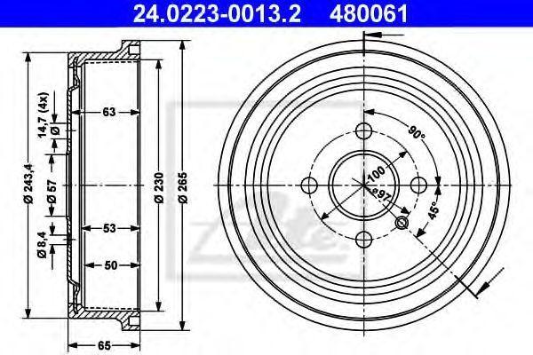 Барабан тормозной ATE 24.0223-0013.2