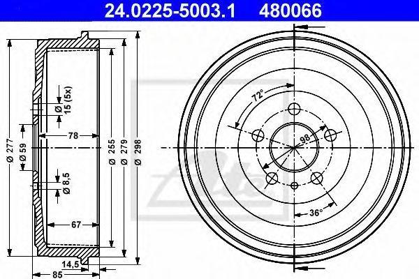 Барабан тормозной ATE 24.0225-5003.1