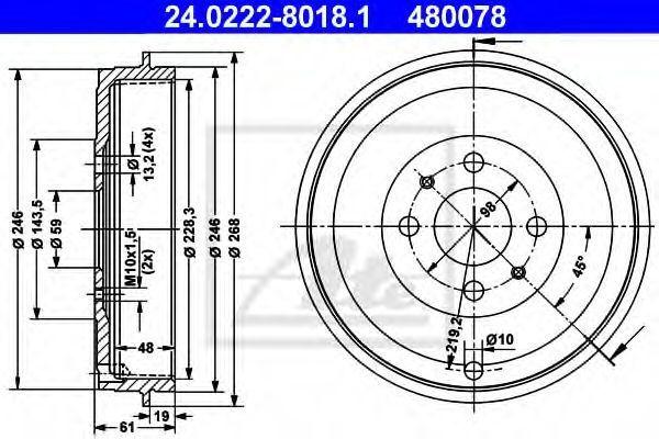 Барабан тормозной ATE 24.0222-8018.1