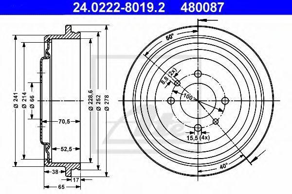 Барабан тормозной ATE 24.0222-8019.2
