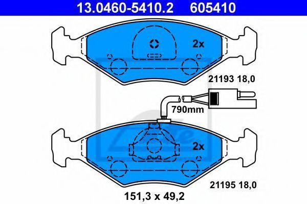Комплект тормозных колодок, дисковый тормоз ATE 13046054102