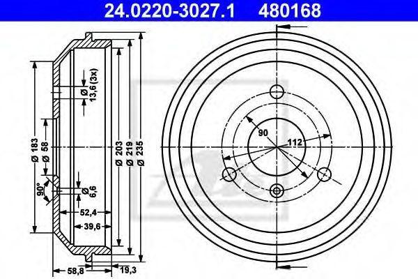 Барабан тормозной ATE 24.0220-3027.1