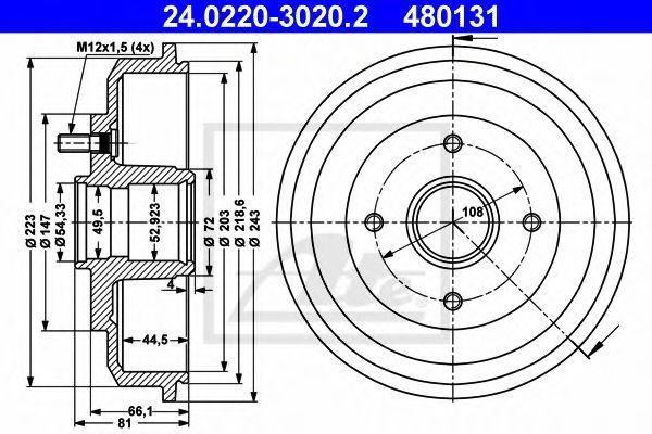 Барабан тормозной ATE 24.0220-3020.2