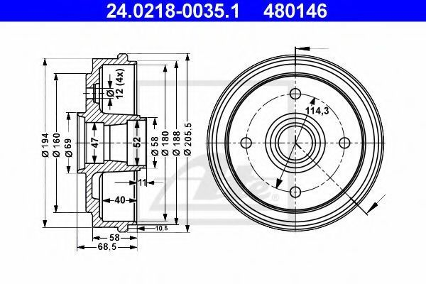 Барабан тормозной ATE 24.0218-0035.1