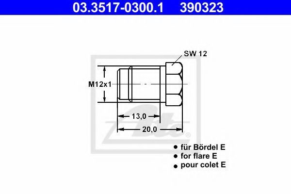 Пробка резьбовая главного тормозного цилиндра ATE 03351703001