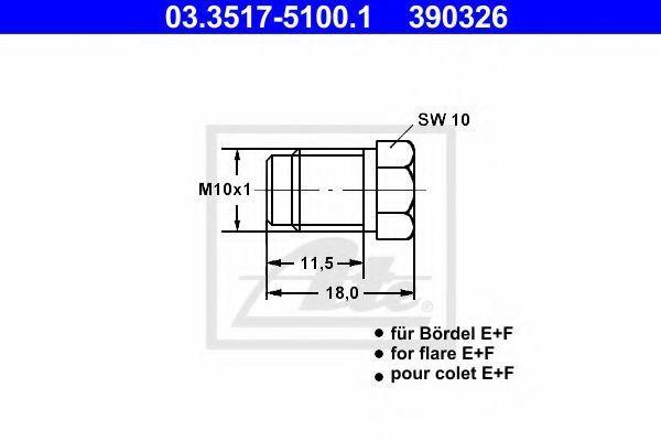 Пробка резьбовая главного тормозного цилиндра ATE 03351751001