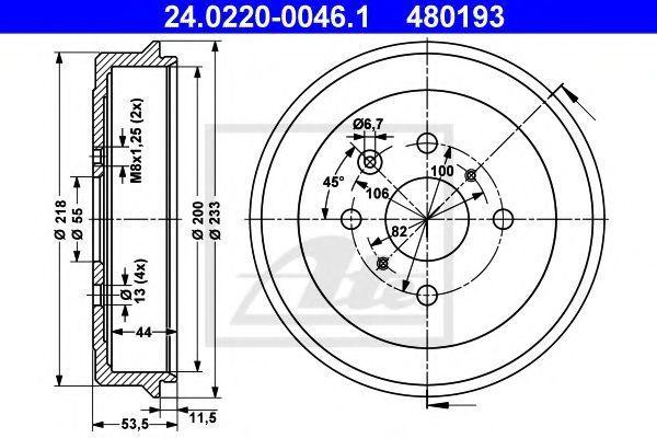 Барабан тормозной ATE 24.0220-0046.1