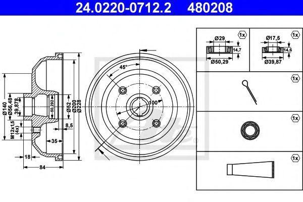 Тормозной барабан ATE 24022007122