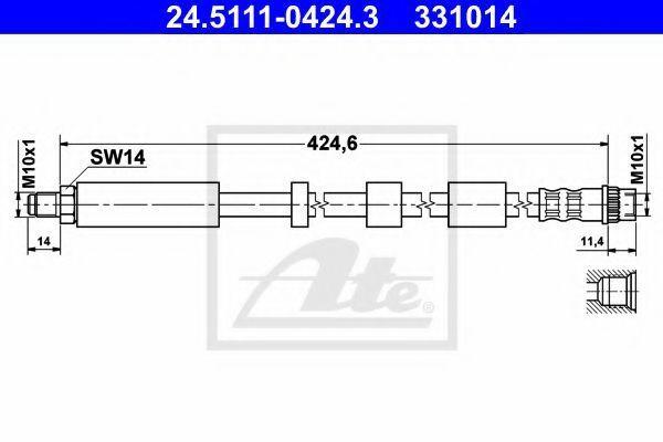 Шланг тормозной ATE 24 5111 0424 3