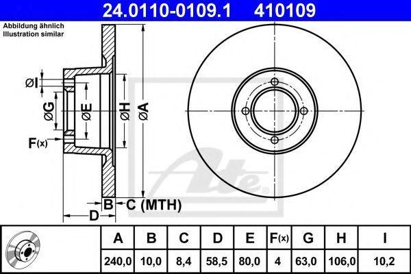 Тормозной диск ATE 24011001091