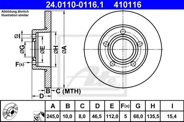 Диск тормозной задний ATE 24.0110-0116.1