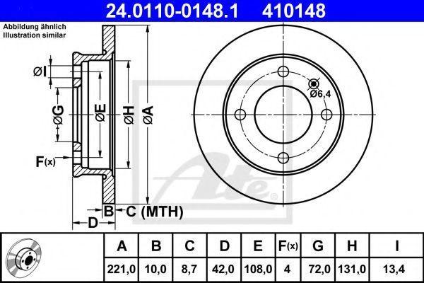 Диск тормозной передний ATE 24011001481