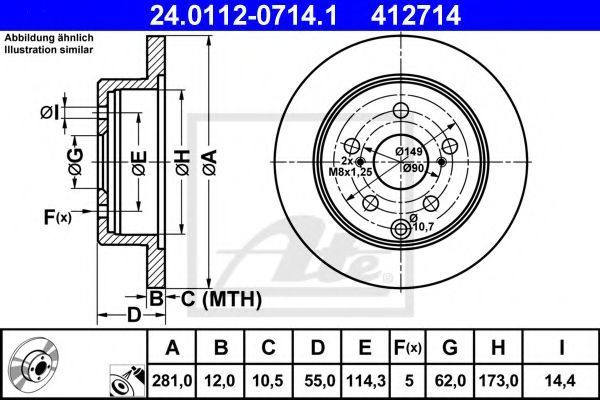 Диск тормозной ATE 24.0112-0714.1