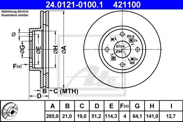 Диск тормозной ATE 24.0121-0100.1