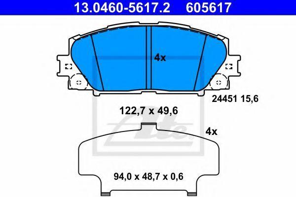 Комплект тормозных колодок, дисковый тормоз ATE 13046056172