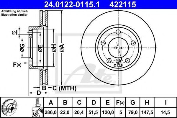 Диск тормозной передний ATE 24012201151