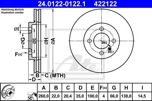 Диск тормозной ATE 24.0122-0122.1