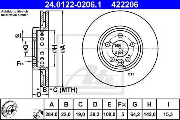 Диск тормозной ATE 24012202061