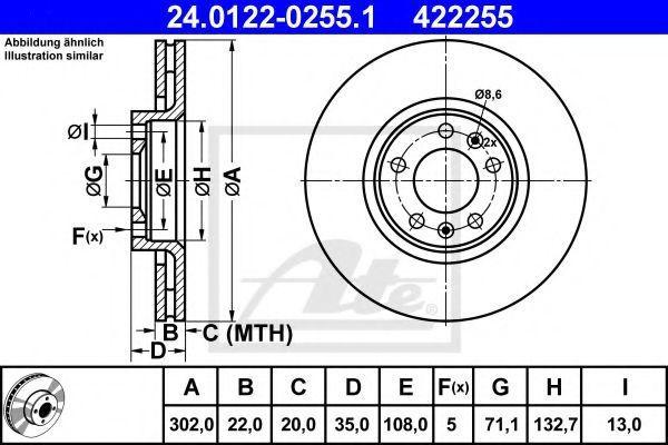 Диск тормозной ATE 24.0122-0255.1