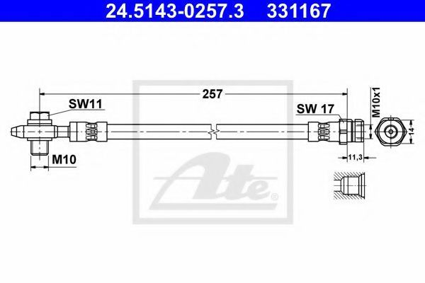 Тормозной шланг ATE 24514302573