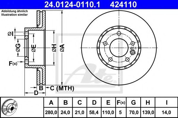 Диск тормозной ATE 24012401101