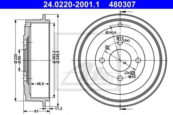 Барабан тормозной ATE 24.0220-2001.1