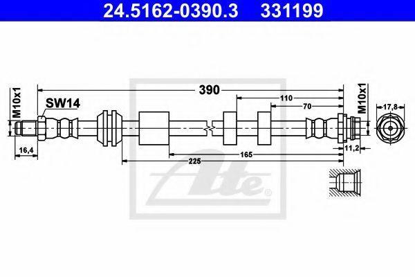 Шланг тормозной ATE 24.5162-0390.3