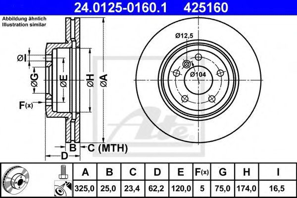 Диск тормозной ATE 24012501601