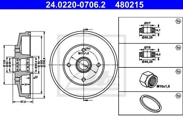 Тормозной барабан ATE 24022007062