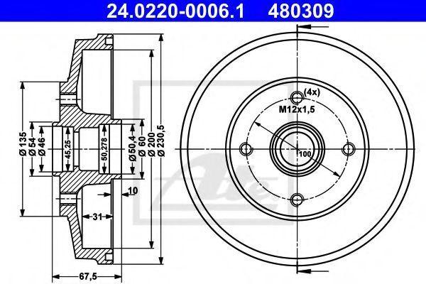 Тормозной барабан ATE 24022000061