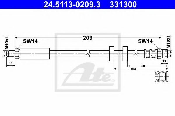 Тормозной шланг ATE 24511302093